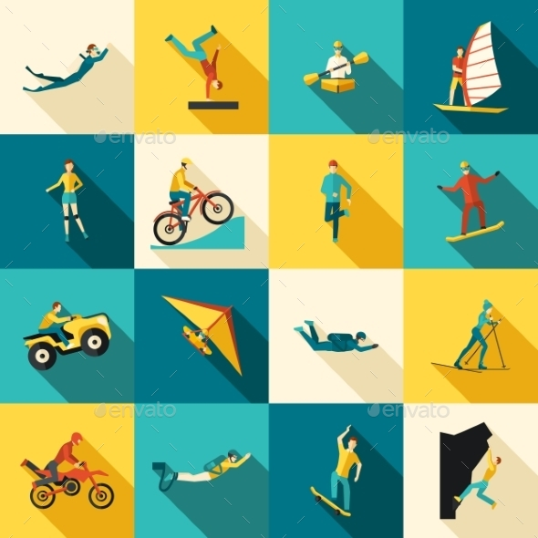 GraphicRiver Extreme Sports Flat Icons Set 11735975