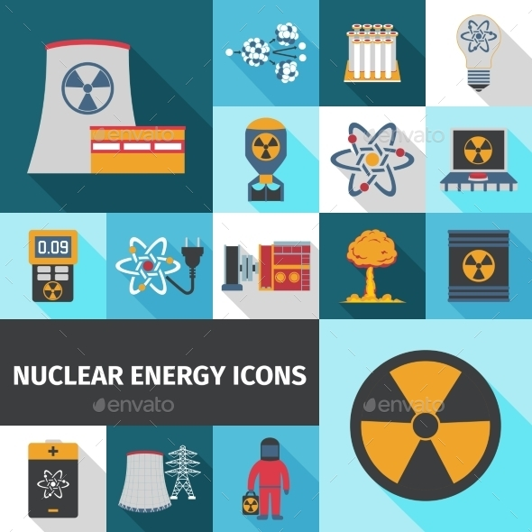 GraphicRiver Nuclear Energy Icons Set Flat 11736035