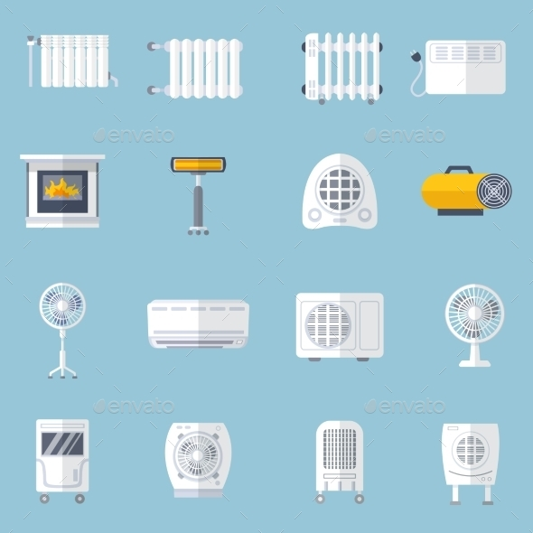 GraphicRiver Heating And Cooling Flat Set 11736117
