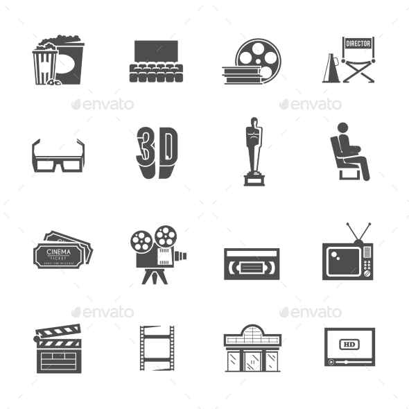 GraphicRiver Cinema Retro Black Icons Set 11736148