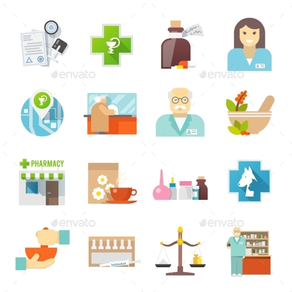 GraphicRiver Pharmacicst Flat Icons Set 11736153