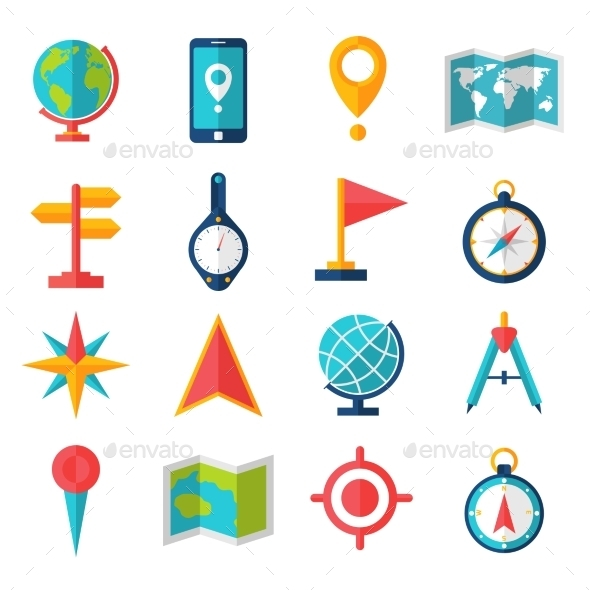 GraphicRiver Cartography Flat Icon Set 11736353