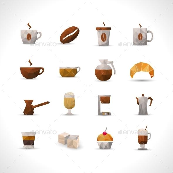 GraphicRiver Polygonal Coffee Icons Set 11736373