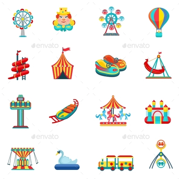 GraphicRiver Amusement Park Icons Set 11736388