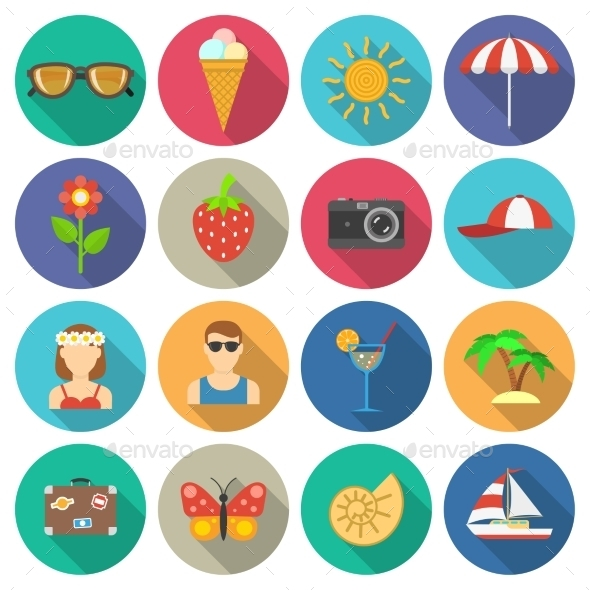 GraphicRiver Summer And Vacations Icons Set 11736396