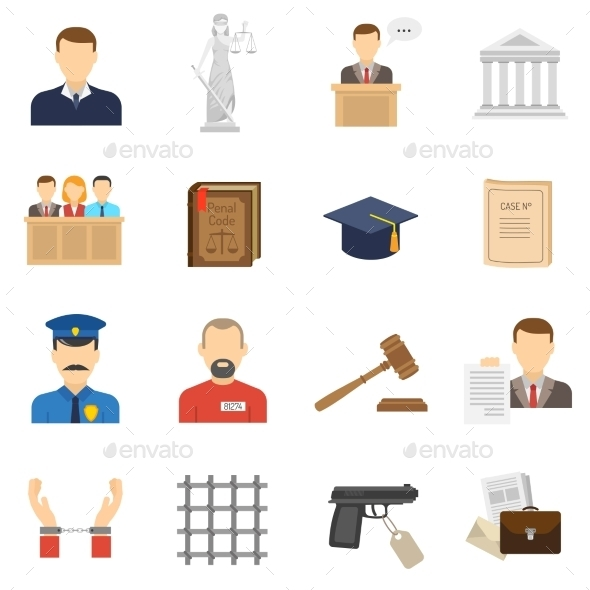 GraphicRiver Justice Flat Icons Set 11736397
