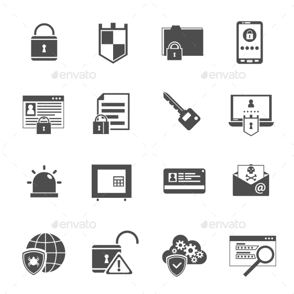 GraphicRiver Computer Security Icons Set Black 11736436