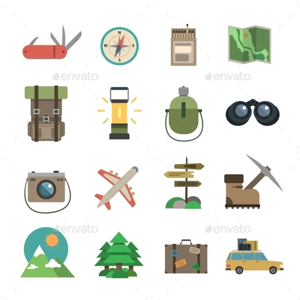 GraphicRiver Hiking Icons Set Flat 11736438