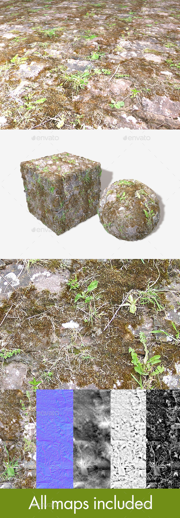 3DOcean Mossy Ground Bricks Seamless Texture 11736662