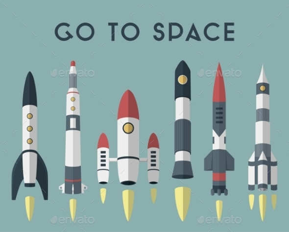 Rockets Going To Space. Vector Flat Design Colored