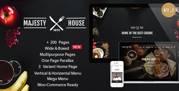 ThemeForest Majesty Responsive Restaurant HTML5 Template 11620777