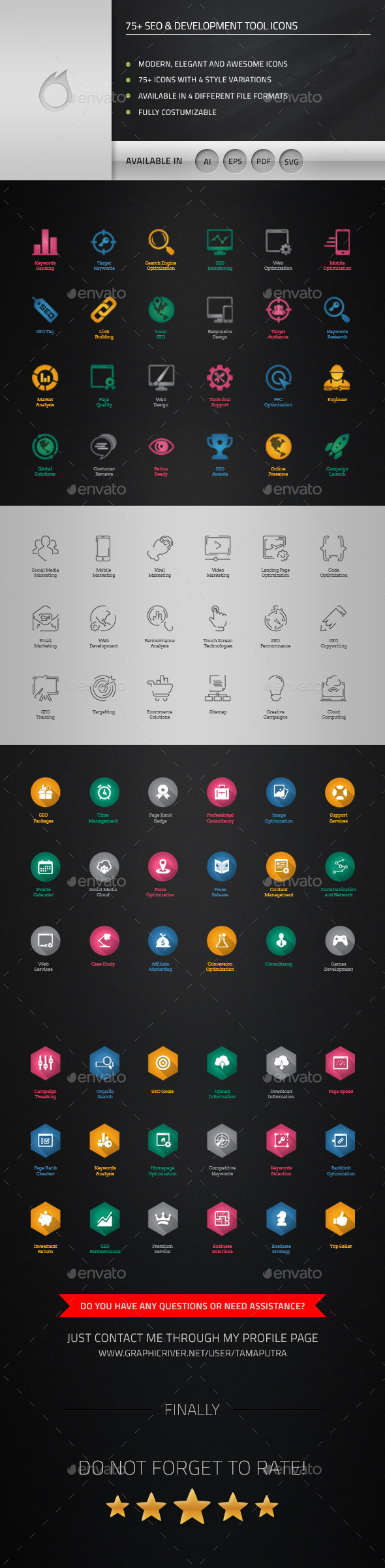 GraphicRiver 75& SEO and Development Tool Icons 11739373