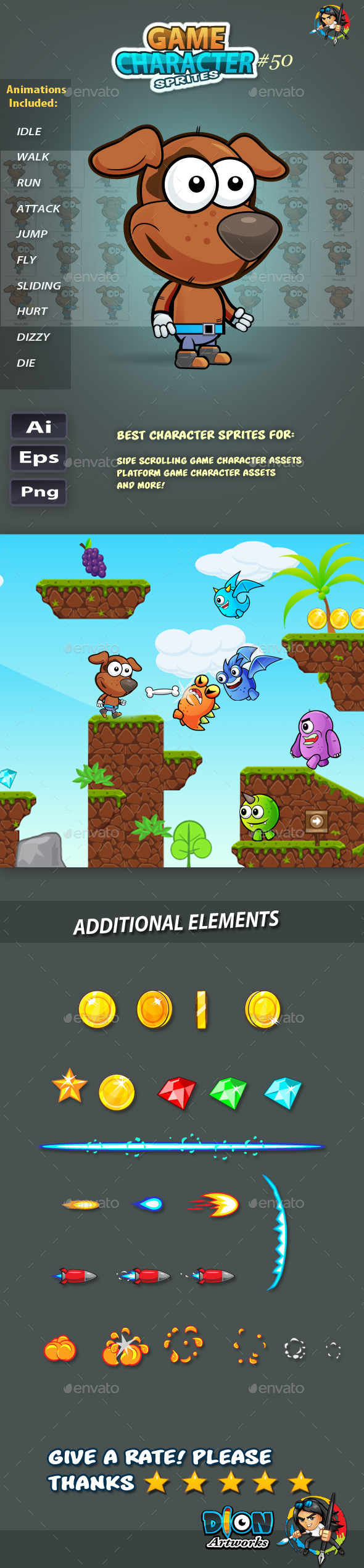 GraphicRiver Dogie 2D Game Character Sprites 50 11743419
