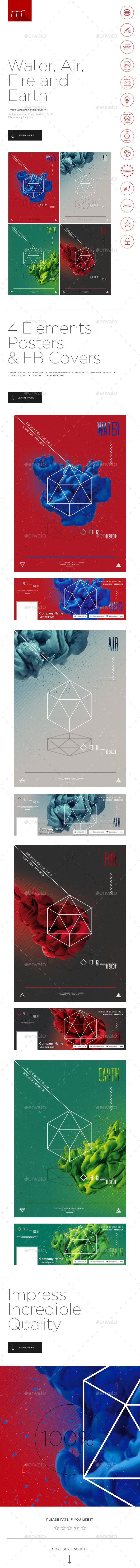 GraphicRiver 4 Elements Posters 11744063