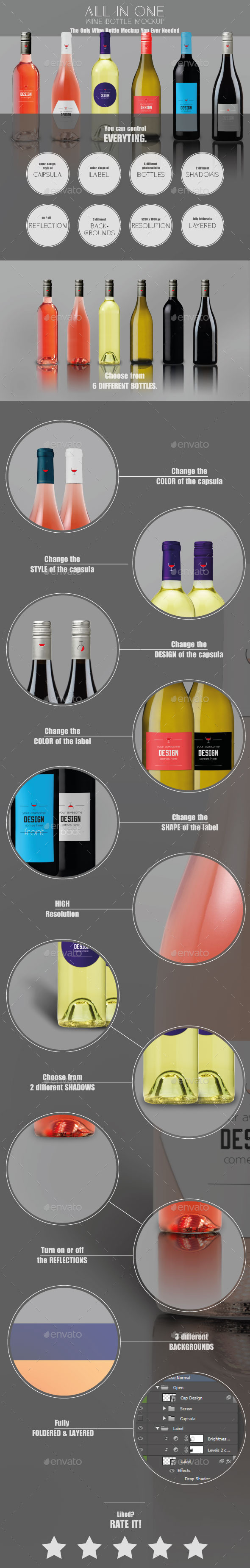 GraphicRiver All-In-One Wine Bottle MockUp 11744652