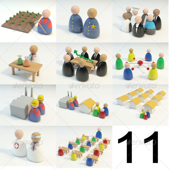 3DOcean 11 3D Figures Scenes 144287