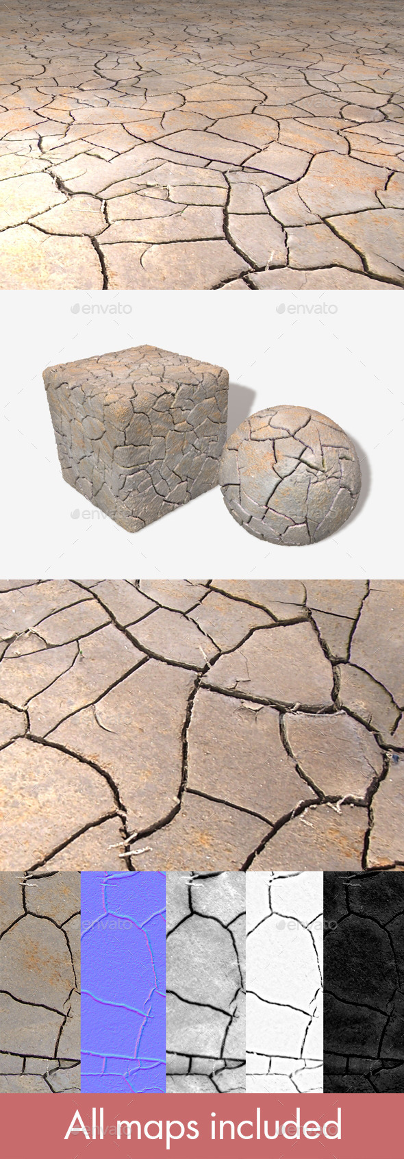 3DOcean Cracked Mud Seamless Texture 11747008