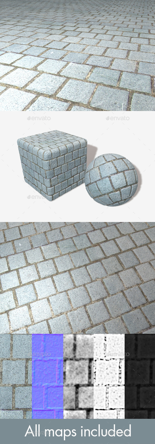 Grey Ground Bricks Seamless Texture - 3DOcean Item for Sale