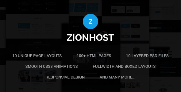 ThemeForest ZionHost Web Hosting Responsive HTML5 Template 11571798