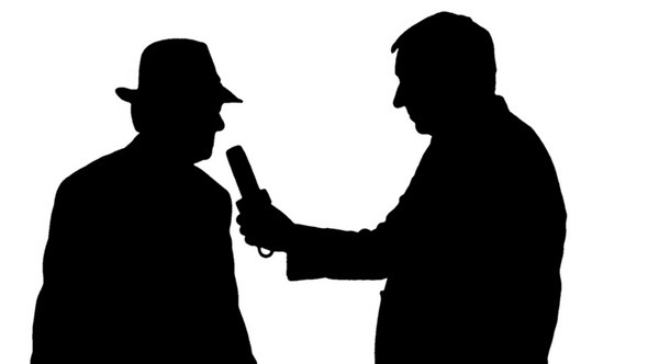 Silhouettes Reporter Interviewing a Businessman