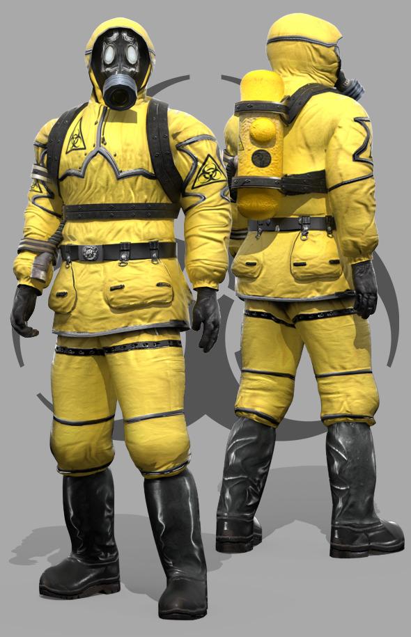 Man In Protective Hazmat Suit - 3DOcean Item for Sale