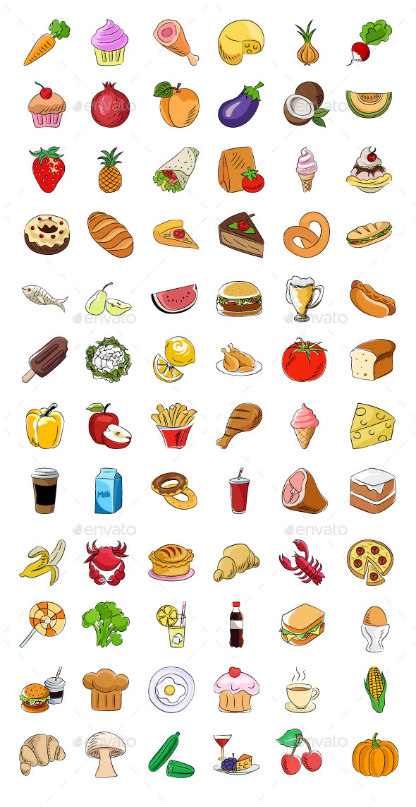 GraphicRiver 70& Food Sketchy Colored Icons 11753168