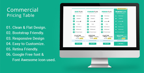 CodeCanyon Commercial Pricing Table 11753859