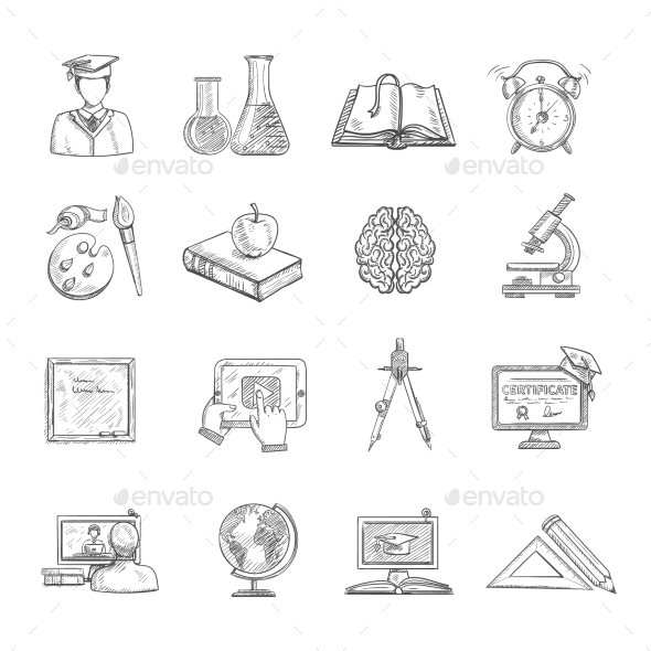 GraphicRiver Education Icons Sketch Set 11757793