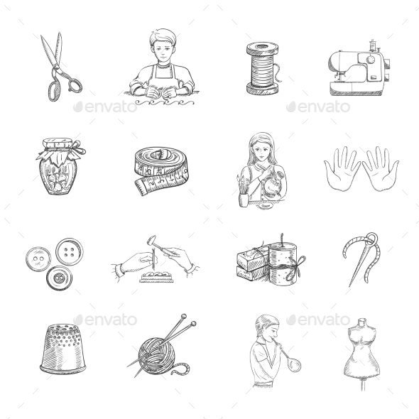GraphicRiver Sketch Handmade Icons Set 11757832