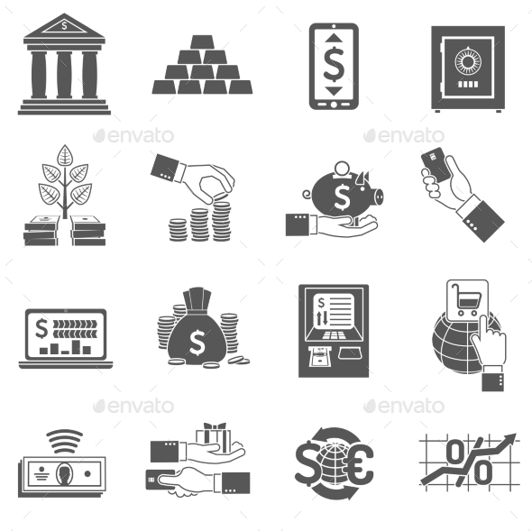 GraphicRiver Banking Icon Black Set 11757838