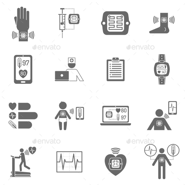 GraphicRiver Wearable Smart Electronic Patch Flat Icons 11758638