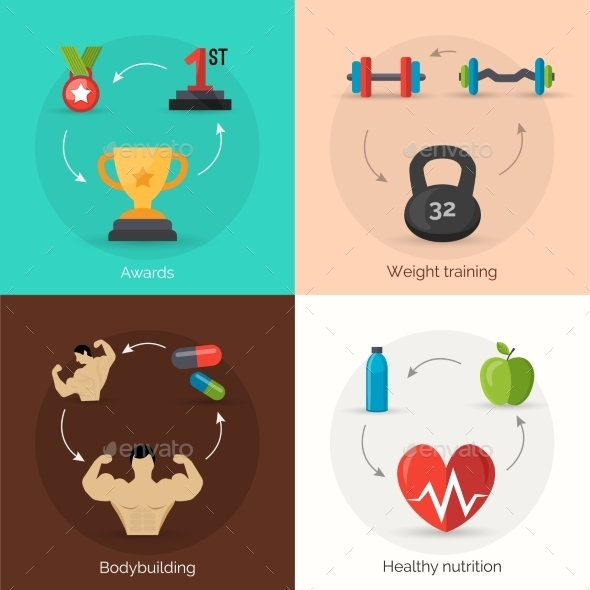 GraphicRiver Bodybuilding Flat Set 11758995