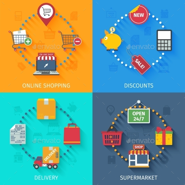 GraphicRiver Shopping Concept Icons Set 11759009