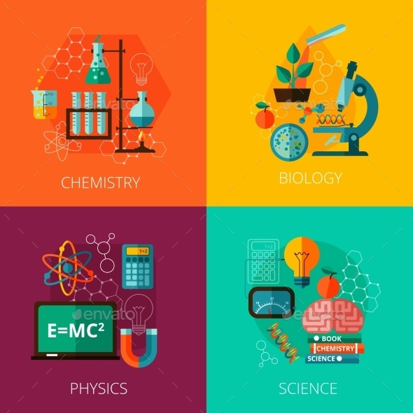 GraphicRiver Science Concept 4 Flat Icon Composition Icons 11759075