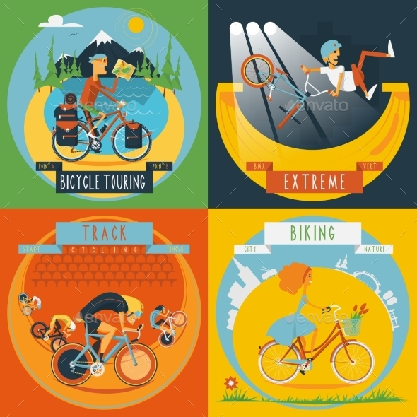 GraphicRiver Cycling 4 Flat Icons Banner 11759078