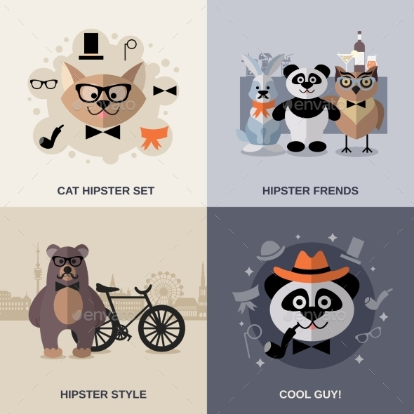GraphicRiver Animal Hipster Set 11759082