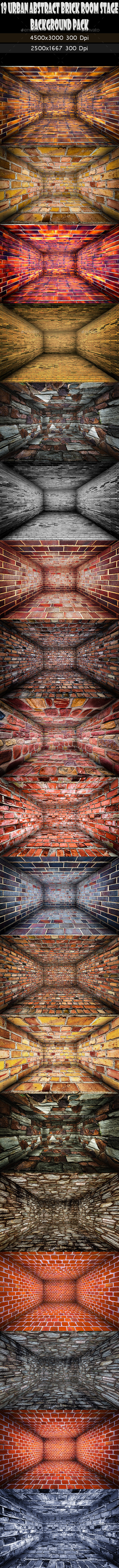 GraphicRiver 19 Abstract Urban Brick Room Interior Stage Pack 11759715