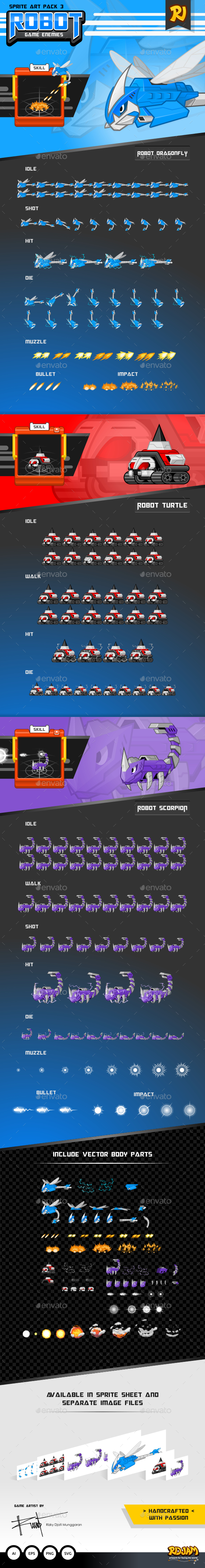 GraphicRiver Robot Game Enemies Sprite Art Pack 3 11759802