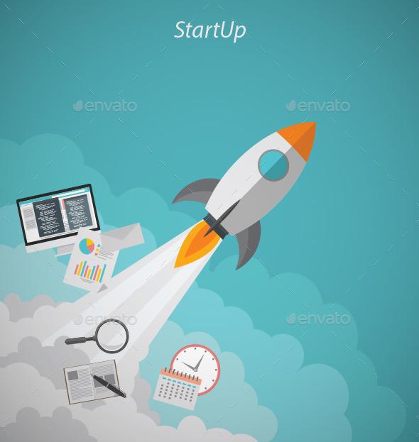 GraphicRiver Startup Rocket Concept 11760374