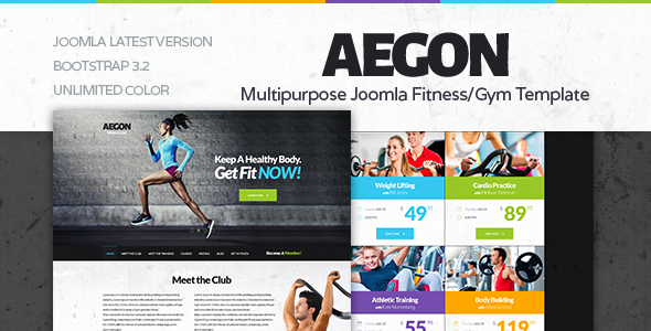 ThemeForest Aegon Responsive Gym Fitness Club Template 11670361