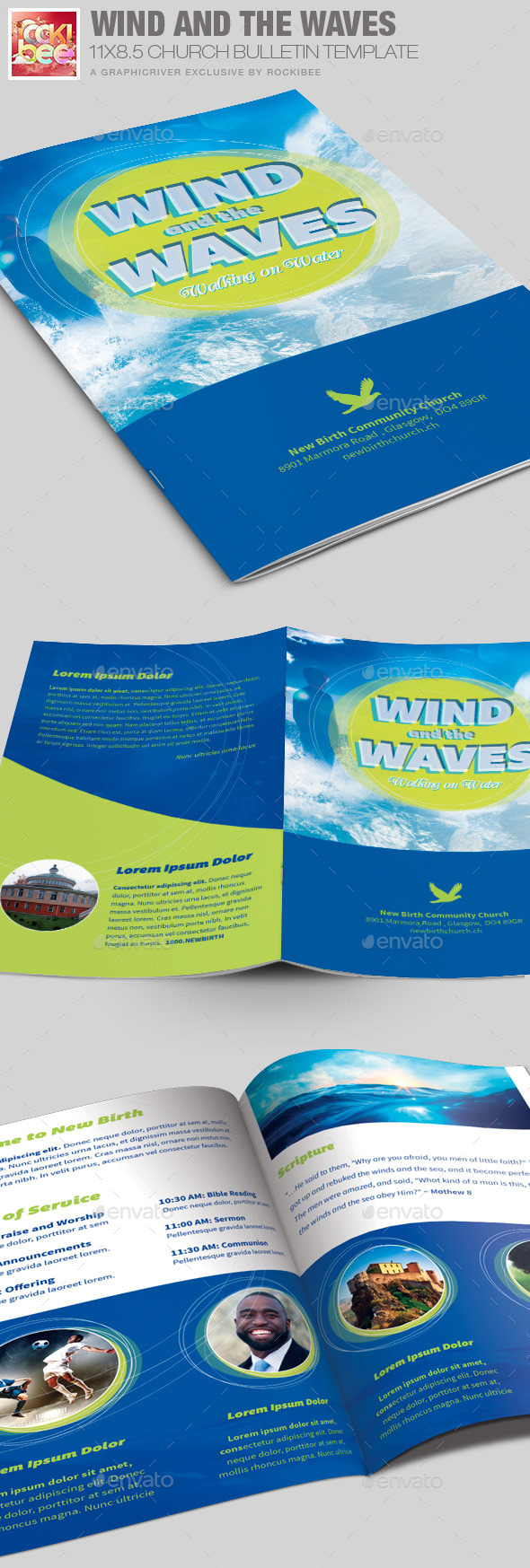 GraphicRiver Wind and the Waves Church Bulletin Template 11760495