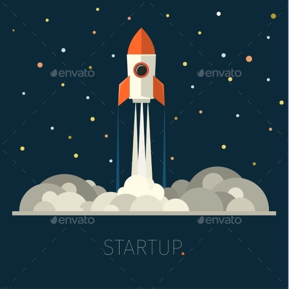 GraphicRiver Concept Of Start Up Rocket In Sky 11760584