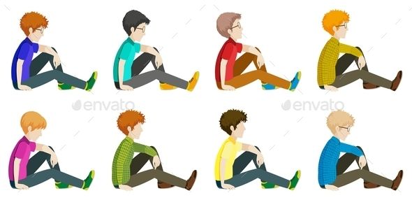 GraphicRiver Faceless Men Sitting Down 11760607