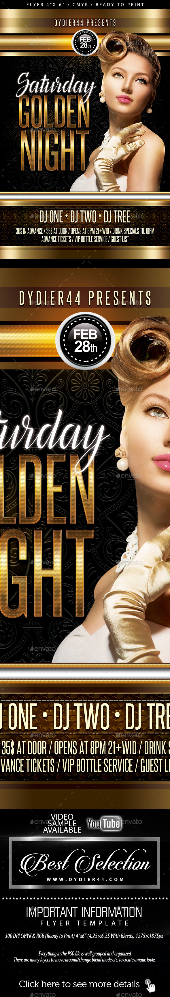 GraphicRiver Saturday Golden Nights Flyer Template 4x6 11760621