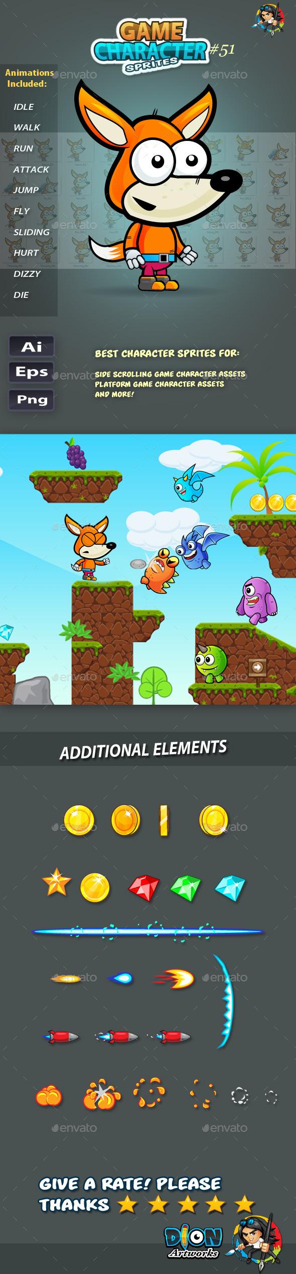 GraphicRiver Fox 2D Game Character Sprites 51 11760934