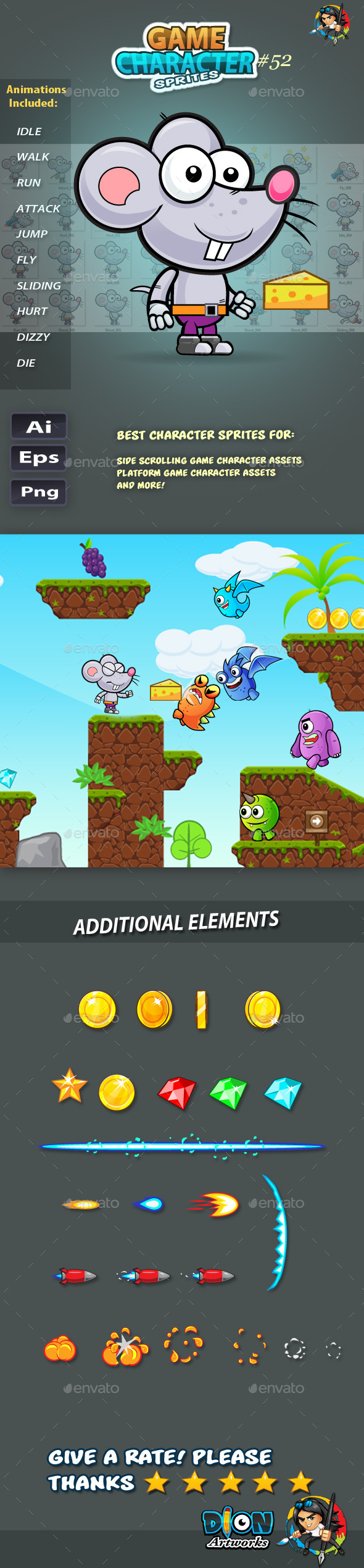 GraphicRiver Rat 2D Game Character Sprites 52 11761064