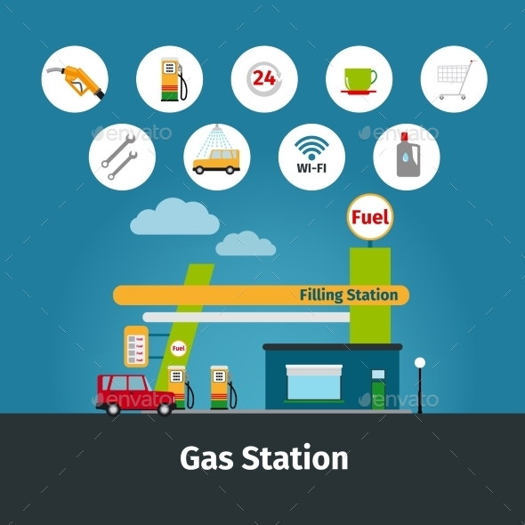 GraphicRiver Gas Station With Flat Icons 11761235