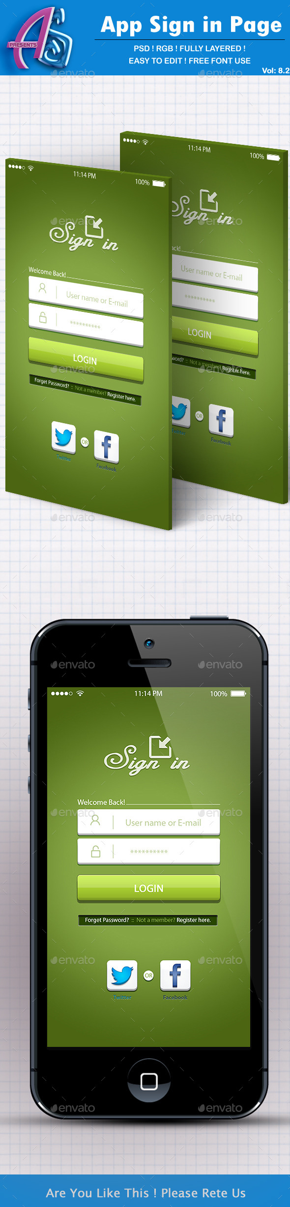 GraphicRiver Green App Sign in Page 11763263