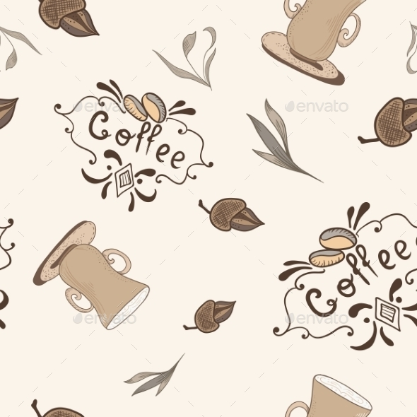 GraphicRiver Vector Coffe Pattern In Sketch Style 11763299