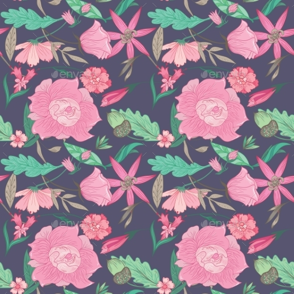 GraphicRiver Summer Floral Pattern On Indigo Background 11763386